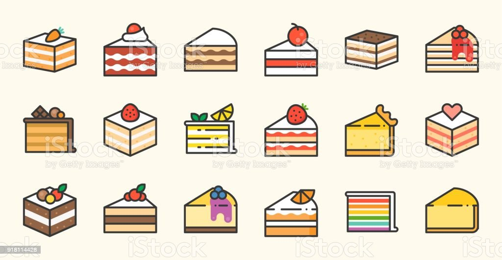 Set of cake, tiramisu, cheese cake, red velvet, orange, carrot, chocolate, mocha, crepe and rainbow cake, layer cake, filled outline icon vector art illustration