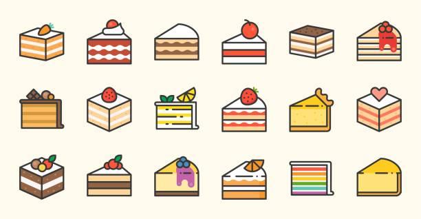 satz von kuchen, tiramisu, käsekuchen, roter samt, orange, karotte, schokolade, mokka, krepp und regenbogen kuchen, torte, gefüllte übersicht-symbol - tiramisu stock-grafiken, -clipart, -cartoons und -symbole