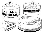 Set of cakes. Sweets isolated on a white background. Vector
