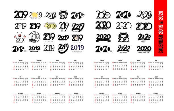 Set of Calendar 2019 and 2020 template. Calendar logo design in black and white colors, holidays in red colors. Vector illustration. Isolated on white background. vector art illustration