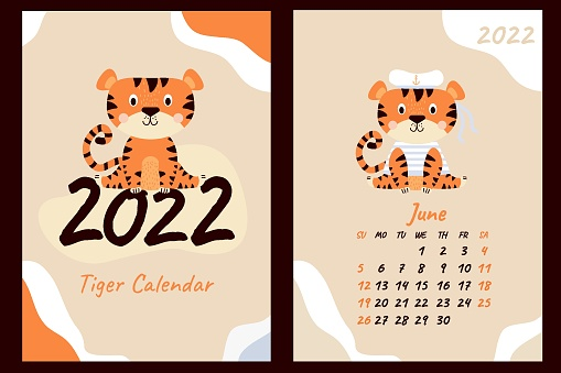 Set of calendar for June 2022 and cover. Cute tiger sailor in a vest and hat with ribbons. Year of the Tiger in Chinese or oriental. Vector illustration. Vertical A4 template. Week starts on Sunday