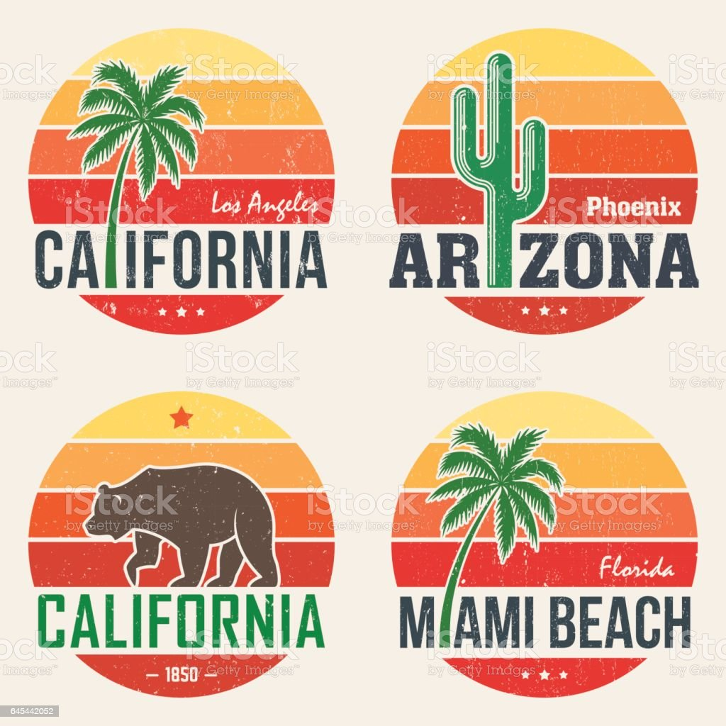 Set of California, Arizona, Miami t-shirt tee prints vector art illustration