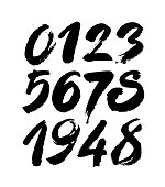 set of calligraphic acrylic or ink numbers. ABC for your design, brush lettering on a black background