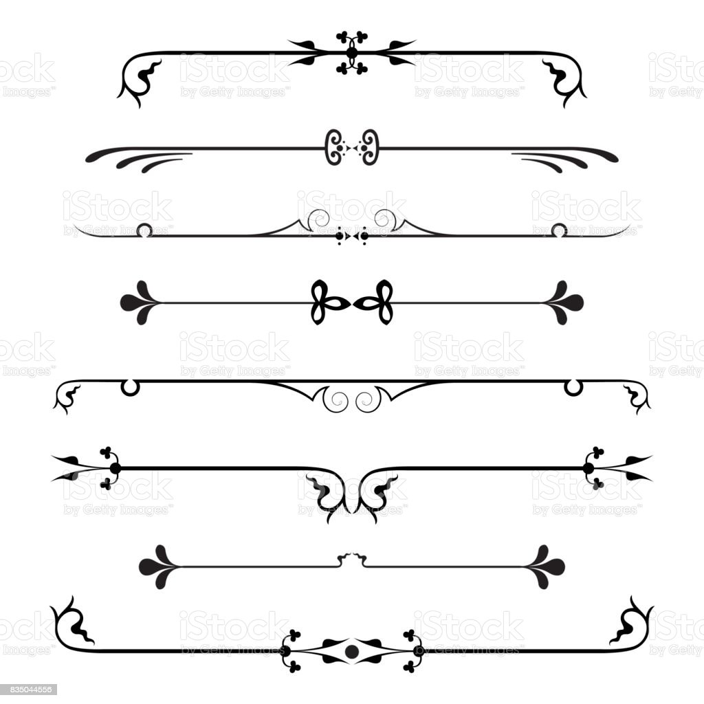 set of calligraphic design elements and page decor. vector art illustration