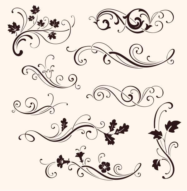 stockillustraties, clipart, cartoons en iconen met set van kalligrafie bloemen elementen. vector decoratieve twijgen en bloemen. siertakken van bomen - maaswerk