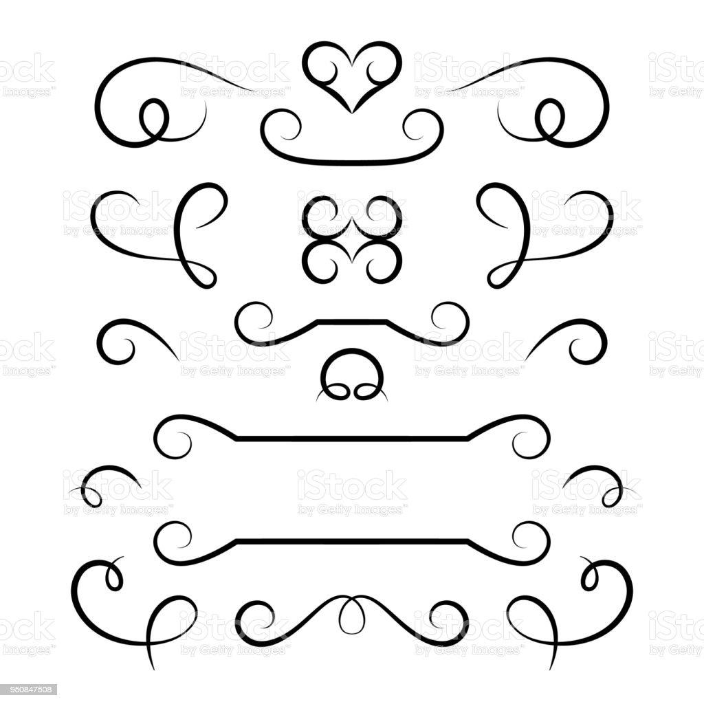 satz von kalligraphischen schn rkel und schn rkel stock vektor art und mehr bilder von. Black Bedroom Furniture Sets. Home Design Ideas