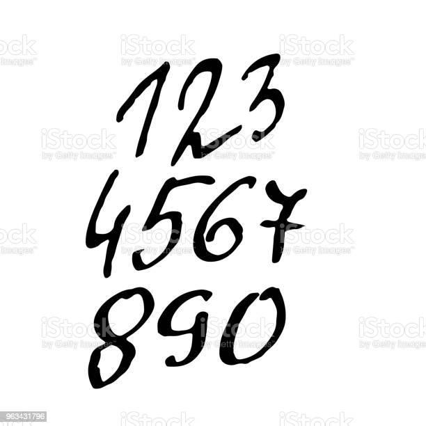 Zestaw Numerów Odniejska Teksturowane Napisy Pędzla Ilustracja Wektorowa - Stockowe grafiki wektorowe i więcej obrazów Abstrakcja