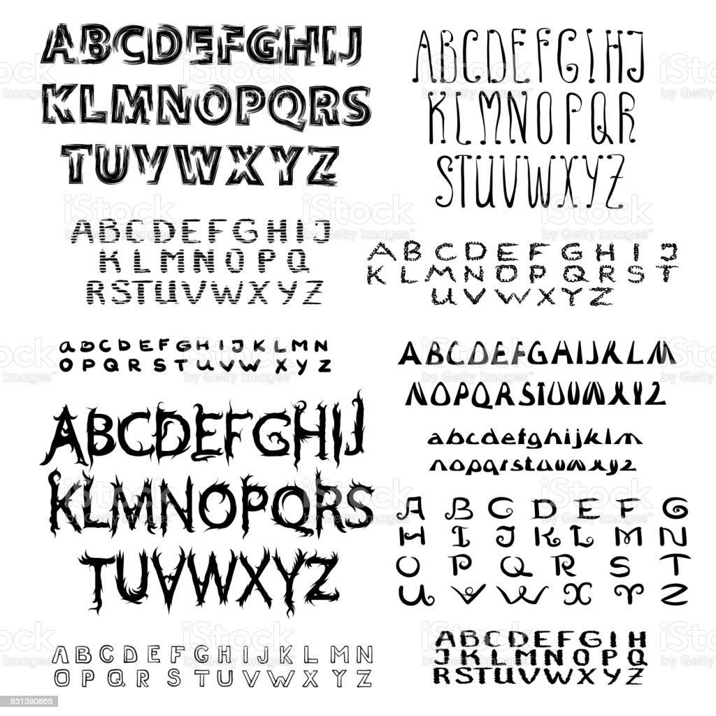 Satz von kalligrafische Schreibschrift. – Vektorgrafik