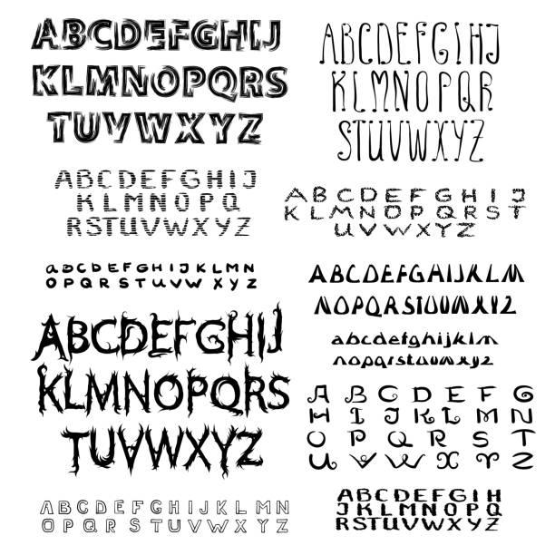 ilustraciones, imágenes clip art, dibujos animados e iconos de stock de conjunto de fuente de escritura caligráfica. - tipos de letra y tipografía
