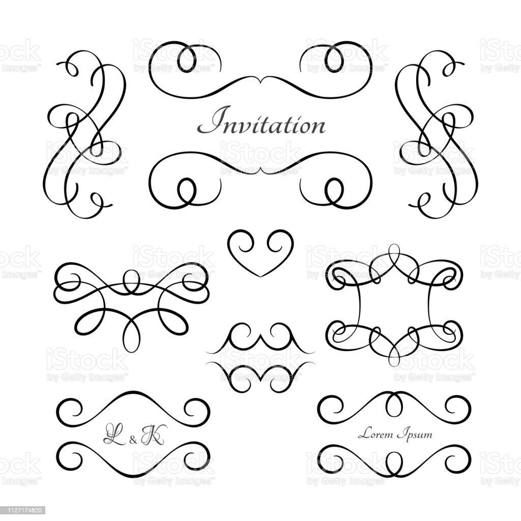 Vintage calligraphic vignettes and flourishes, decorative design...