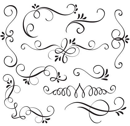set of calligraphy flourish art with vintage decorative whorls for design. Vector illustration EPS10