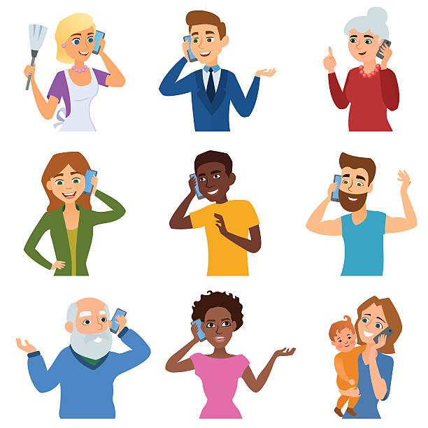 bildbanksillustrationer, clip art samt tecknat material och ikoner med set of calling mobile business adult people talking phone character - parent talking to child