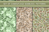 Set of camouflage seamless patterns. Vector illustration