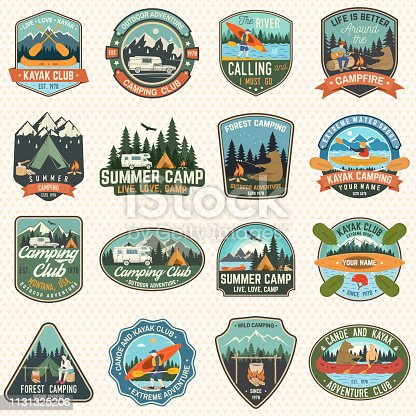 Set of camp and kayak club badges Vector. Concept for patch, shirt, print. Vintage design with camping, mountain, river, american indian, camper, kayaker silhouette. Extreme water sport kayak patches