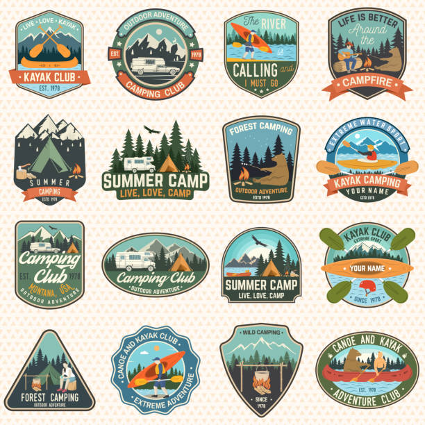 ilustrações de stock, clip art, desenhos animados e ícones de set of camp and kayak club badges vector. concept for patch, print. vintage design with camping, mountain, river, american indian, camper, kayaker silhouette. extreme water sport kayak patches - aventura