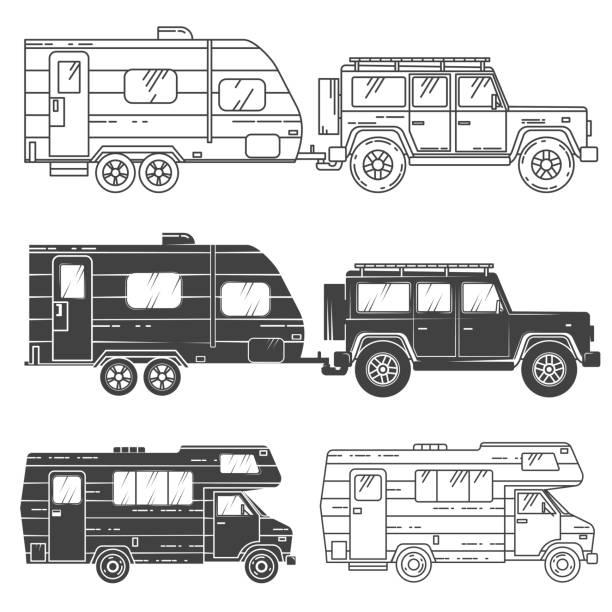 stockillustraties, clipart, cartoons en iconen met set van camper vans pictogrammen - caravan