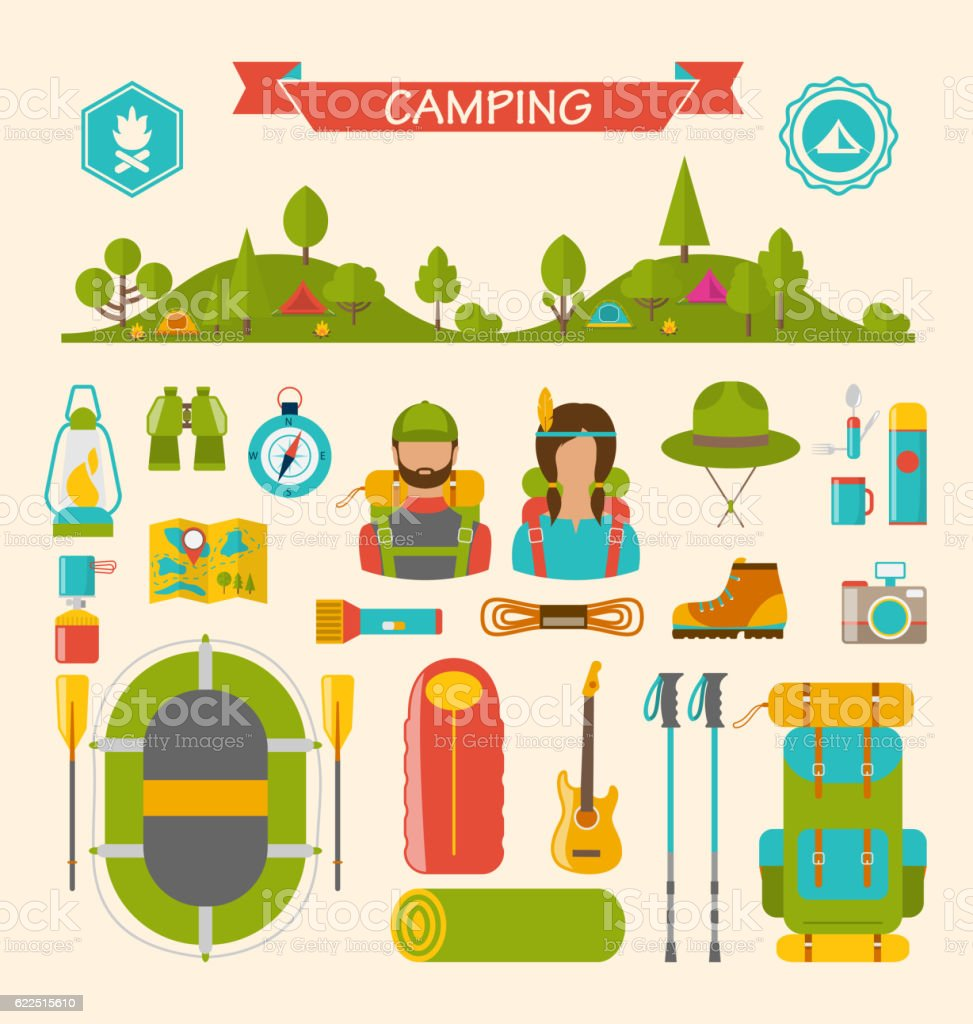 Set of Camping and Hiking Equipment vector art illustration