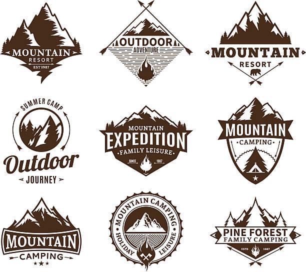 satz von camping und outdoor-aktivität label - zeltausrüstung stock-grafiken, -clipart, -cartoons und -symbole
