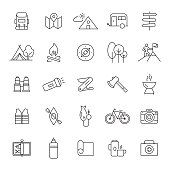 Set of Camping and Outdoor Activity Related Line Icons. Editable Stroke. Simple Outline Icons.