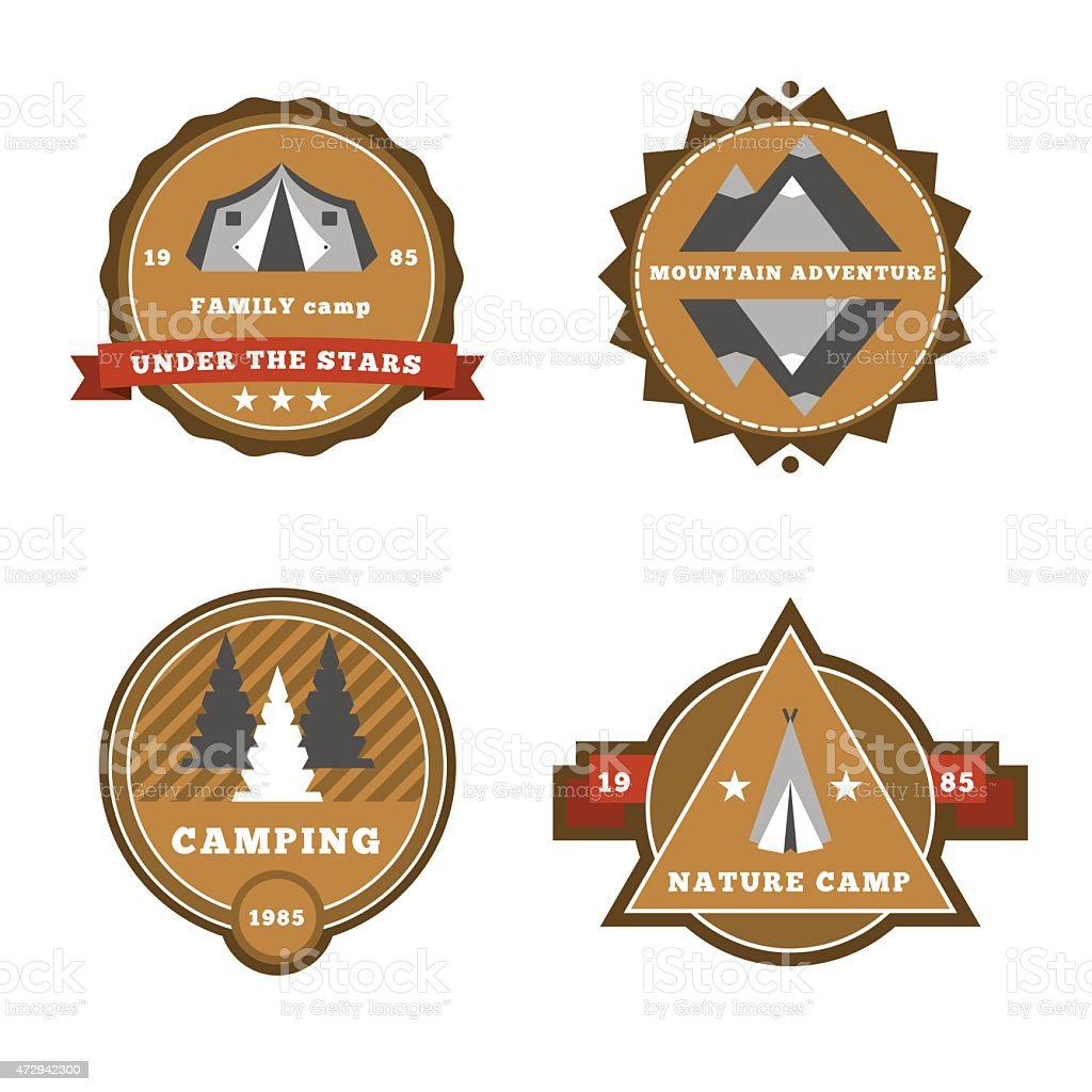 Set of camping and outdoor adventure stickers logo badges labels