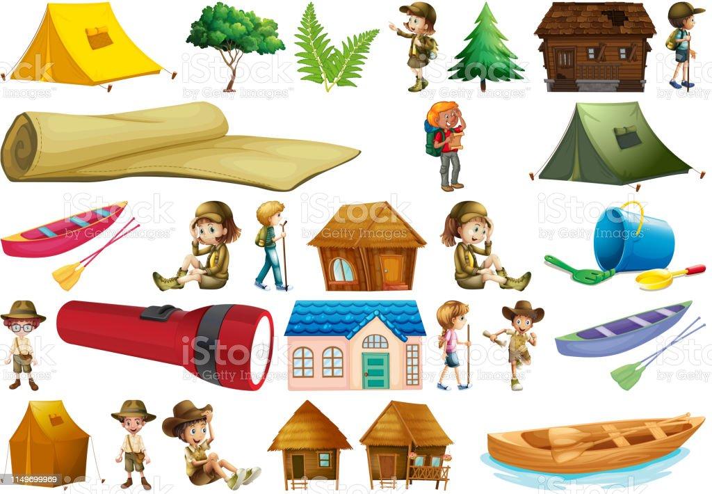 Set of camping element illustration