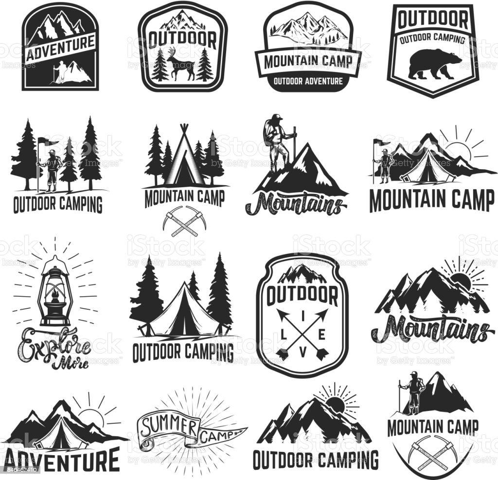 Set of camping emblems isolated on white background. Hiking, tourism,...
