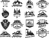Set of camping emblems isolated on white background. Hiking, tourism, outdoor adventure. Design elements for label, emblem, sign. Vector illustration