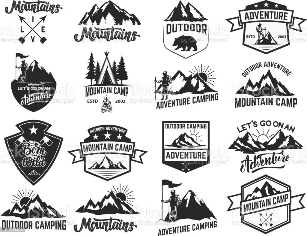 Ensemble des emblèmes camping isolé sur fond blanc. Randonnées, tourisme, aventures en plein air. - Illustration vectorielle