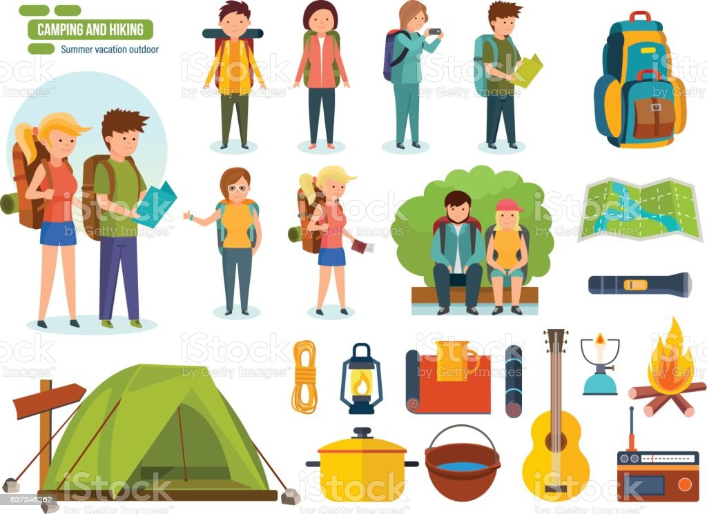 Set of camping equipment, backpackers, climbers, for active recreation, people vector art illustration