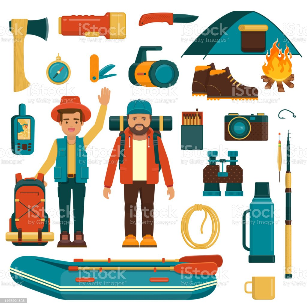 Set of camping, fishing and hiking equipment. Two tourists with...