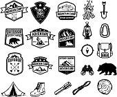 Set of camping, hiking, tourism emblems. Design element for emblem, sign, label, poster. Vector illustration