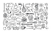 Set of camping icons in the style of hand-drawn graphics. Doodle elements for tattoo, t-shirt and sticker design. Isolated on white background