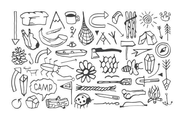 eingestellt von camping icons im stile von handgezeichneten grafiken - stammes tattoos stock-grafiken, -clipart, -cartoons und -symbole