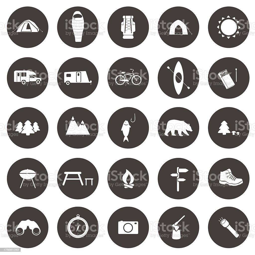 Set of camping icons vector art illustration