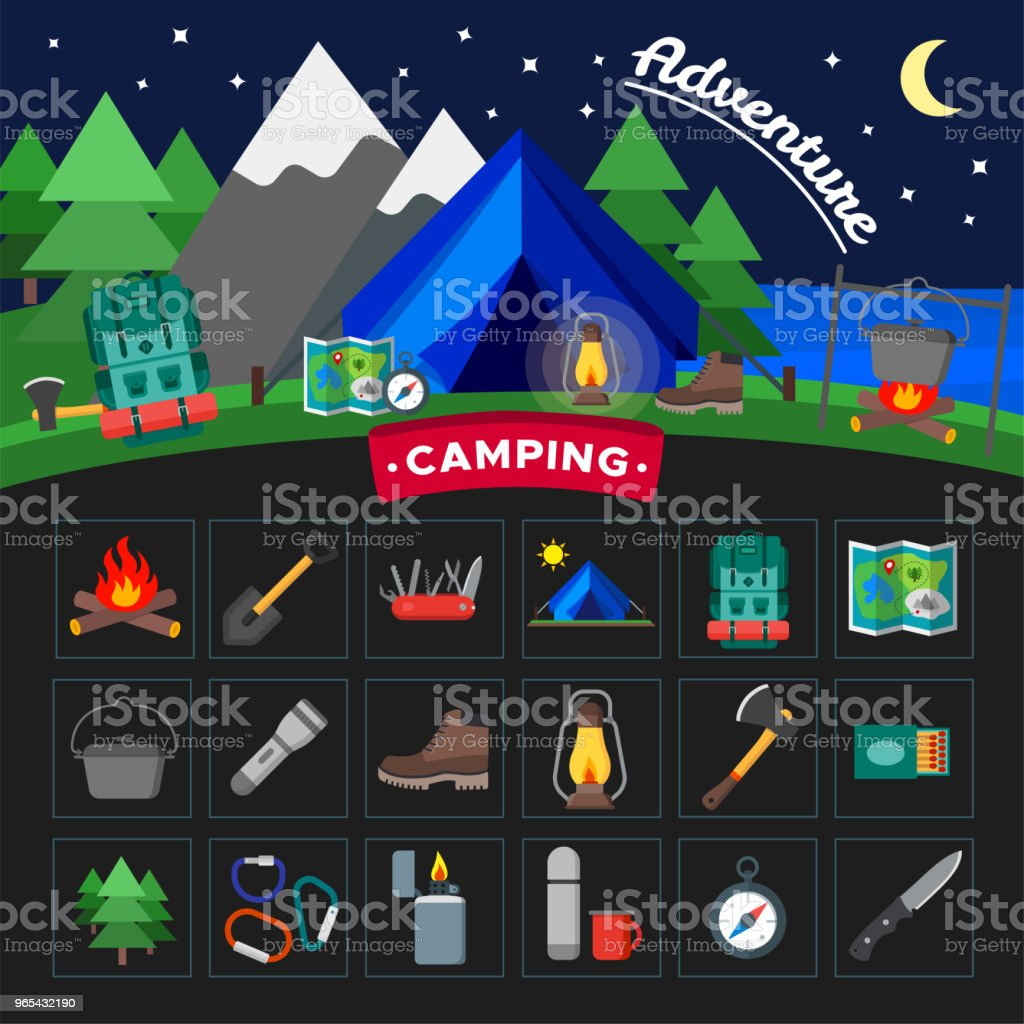 Set of camping outdoor activity icons. Tourist camp equipment collection. Isolated vector illustration royalty-free set of camping outdoor activity icons tourist camp equipment collection isolated vector illustration stock vector art & more images of axe
