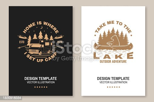 istock Set of camping template. Vector illustration Concept for shirt or logo, print, stamp or tee. Vintage typography design with quad bike, bear in canoe, camper trailer and forest silhouette. 1320918334