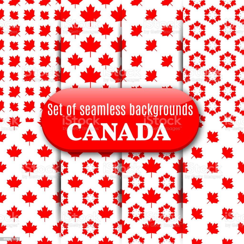 Set of Canadian seamless background, vector illustration. vector art illustration