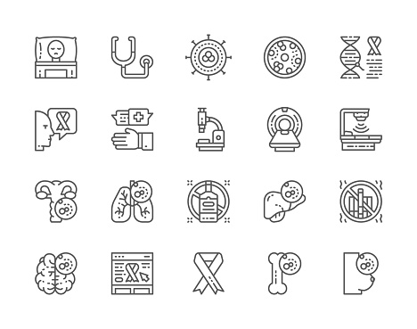 Set of Cancer and Chemotherapy Line Icons. Oncology, Sarcoma, Leukemia and more.