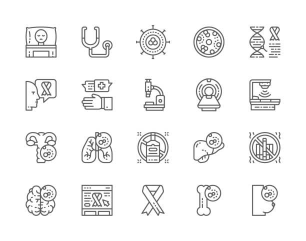 ilustraciones, imágenes clip art, dibujos animados e iconos de stock de conjunto de iconos de línea de cáncer y quimioterapia. oncología, sarcoma, leucemia y más. - oncología