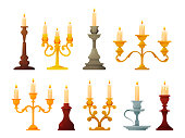 Candlestick or candle holders and candelabra, vector illustration icons. Vintage old candles flames or lamp chandelier, Victorian retro and classic lanterns,bronase and brass candlelight with handles