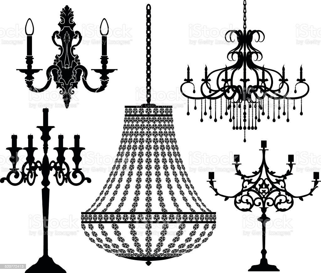 Set of candlesticks and chandeliers. Vector illustration. vector art illustration