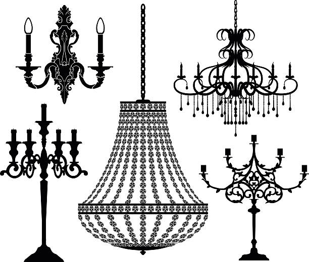 Set of candlesticks and chandeliers. Vector illustration. Set of candlesticks and chandeliers. Vector illustration. candlestick holder stock illustrations