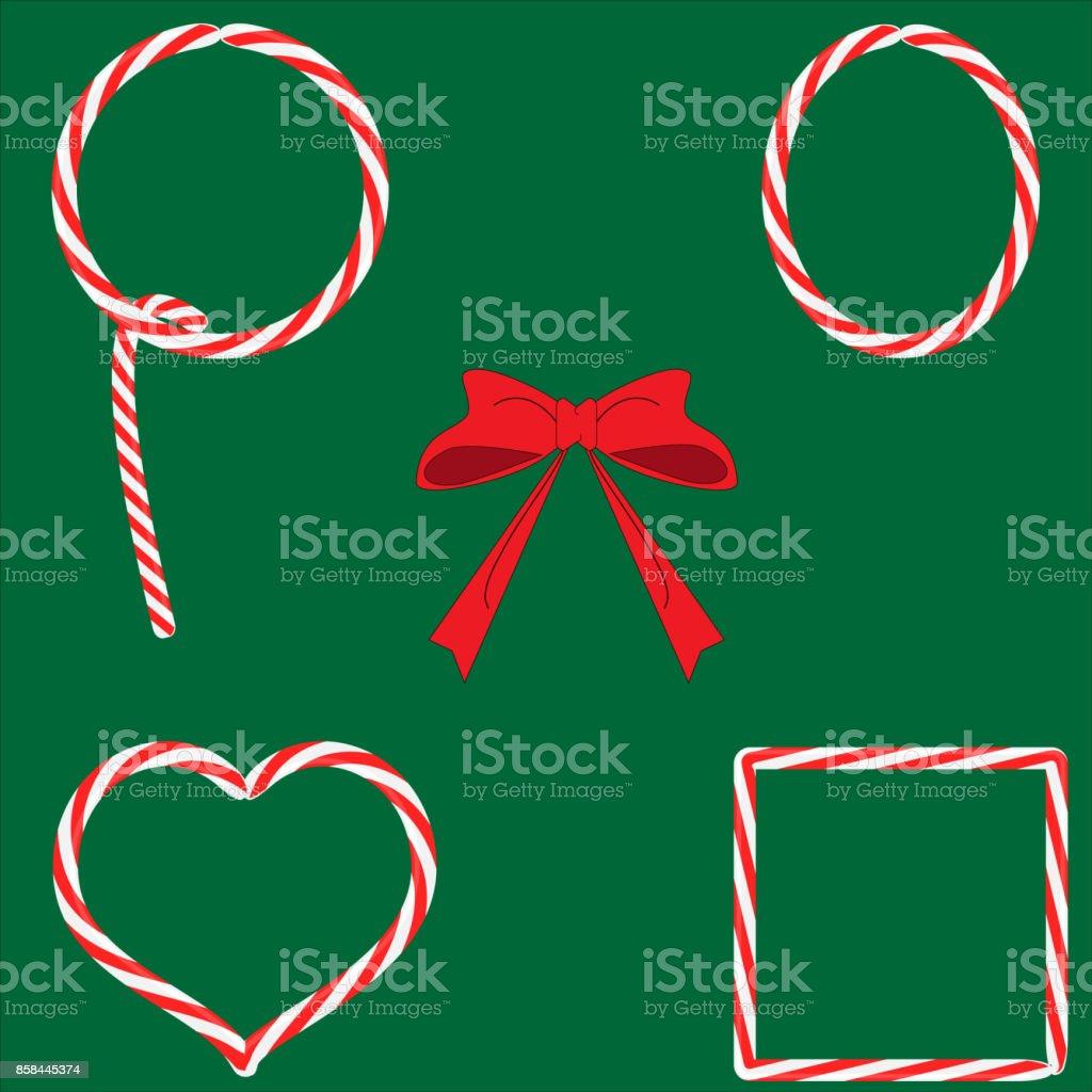 Satz Von Süßigkeiten Lutscher Weihnachten Rahmen Mit Roter Schleife ...