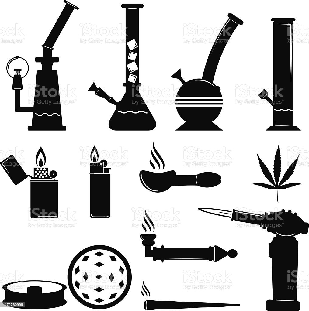 set of cannabis equip icon vector art illustration