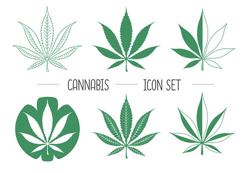 Set of cannabis leaf simple vector icons on white background. Businiss Logo design