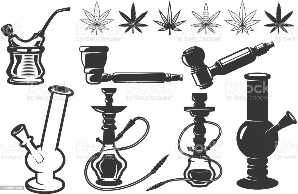 Set of cannabis leafs, bongs, hookahs icons. Cannabis, marijuana. Design elements for label, emblem, sign. vector art illustration