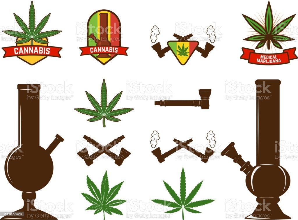 Set of cannabis leafs, bongs vector art illustration