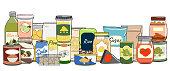 Set of canned food on shelf. Preserved food in cans, glass jars, metal containers, packs of cereals