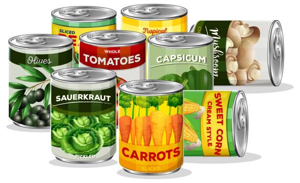 satz von konserven gemüse - sauerkraut stock-grafiken, -clipart, -cartoons und -symbole