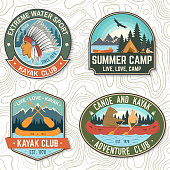 Set of canoe and kayak club badges Vector. Concept for patch, shirt, print, stamp or tee. Vintage design with mountain, river, american indian and kayaker silhouette. Extreme water sport kayak patches